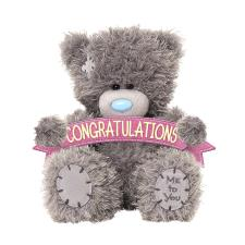 "4"" Congratulations Banner Me to You Bear"