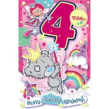 4 Today My Dinky Bear Me to You Bear 4th Birthday Card
