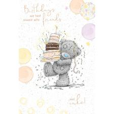 Bear Carrying Cake Me to You Bear Birthday Card