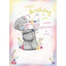 Happy Birthday Bear Holding Gift Me to You Bear Birthday Card