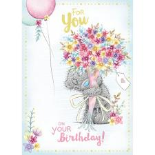 For You Holding Big Bouquet Me to You Bear Birthday Card