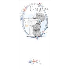On Your Christening Me To You Bear Card