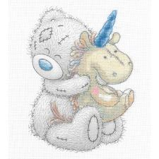 Unicorn Snuggles Me to You Bear Cross Stitch Kit