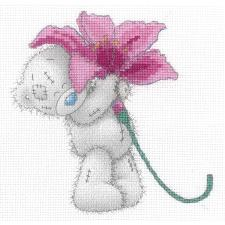 Pink Lily Me to You Bear Cross Stitch Kit