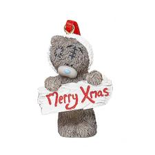 Merry Xmas Sign Me to You Bear Tree Decoration