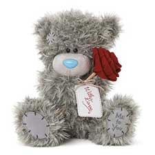 "10"" Holding Rose With Tag Me to You Bear"