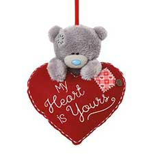 "4"" Hanging Me to You Bear On Padded Heart"