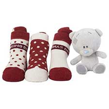 "Tiny Tatty Teddy Christmas Socks and 4"" Plush Set"
