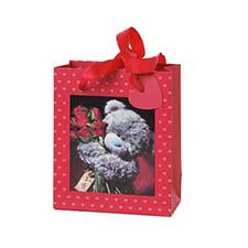 Extra Small 3D Holographic Red Roses Me to You Bear Gift Bag