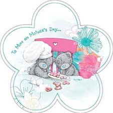 To Mum Me to You Bear Mothers Day Flower Shaped Card