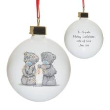 Personalised Me to You Wrapped Up In Lights Christmas Bauble