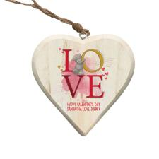 Personalised Me to You LOVE Hanging Wooden Heart