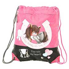 Horseshoe Me to You Bear Drawstring Bag