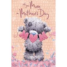 MUM Bunting Softly Drawn Me to You Bear Mother's Day Card