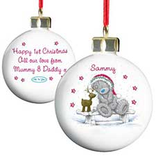 Personalised Me to You Bear Christmas Reindeer Bauble