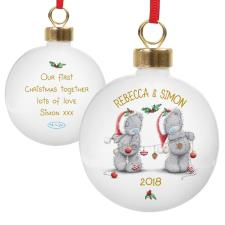 Personalised Me to You Bear Christmas Couples Bauble