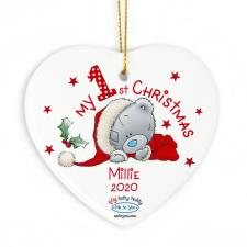 Personalised My 1st Christmas Me to You Ceramic Heart Decoration