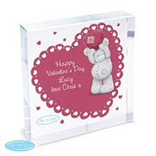 Personalised Me to You Bear Heart Large Crystal Block
