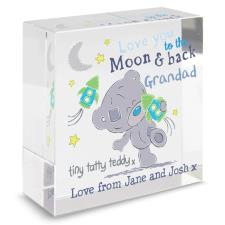 Personalised Tiny Tatty Teddy Moon & Back Crystal Block