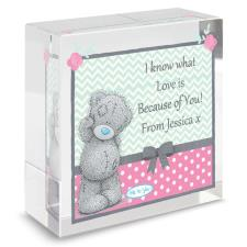Personalised Me to You Pastel Belle Crystal Block
