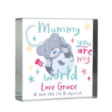 Personalised You Are My World Me to You Large Crystal Block