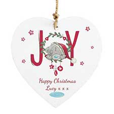 Personalised Me To You Christmas Joy Wooden Heart Plaque