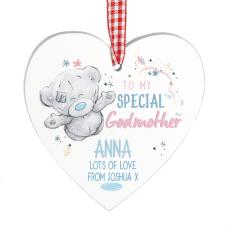 Personalised Me to You Godmother Wooden Heart Decoration