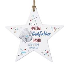 Personalised Me to You Godfather Wooden Star Decoration