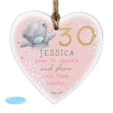 Personalised Me to You Sparkle & Shine Birthday Wooden Heart Decoration