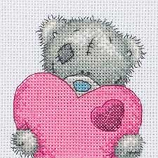 Big Heart Me to You Bear Cross Stitch Kit