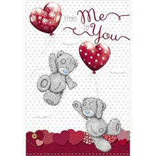 From Me to You Heart Balloons Valentines Day Card