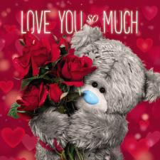 3D Holographic Love You So Much Me to You Bear Valentines Day Card