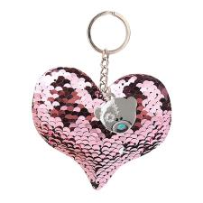 Padded Sequin Heart Me to You Bear Key Ring