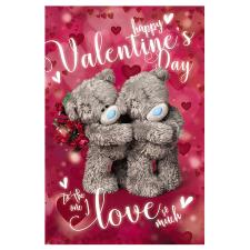 3D Holographic Bears Hugging Me to You Bear Valentines Day Card