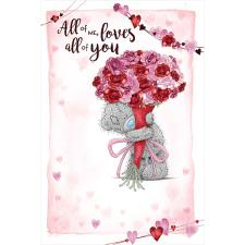 Holding Large Bouquet Me to You Bear Valentine's Day Card