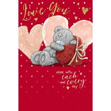 Bear Leaning On Heart Me to You Bear Valentine's Day Card