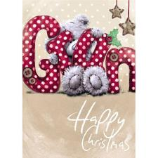 Bear Holding G.R.A.N letters Me to You Bear Christmas Card