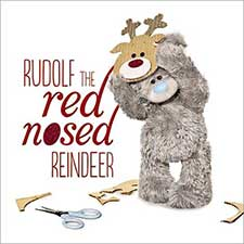 3D Holographic Rudolf Reindeer Me to You Bear Christmas Card