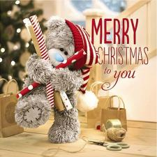 3D Holographic Bear and Roll Wrap  Me to You Bear Christmas Card
