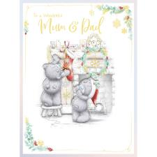 Wonderful Mum & Dad Handmade Large Me to You Bear Christmas Card
