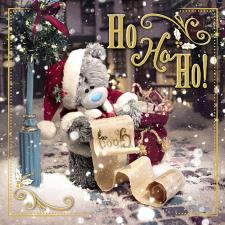 3D Holographic Ho Ho Ho Santa's List Me to You Bear Christmas Card