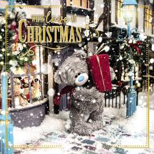 3D Holographic Bear Holding Large Present Me to You Bear Christmas Card