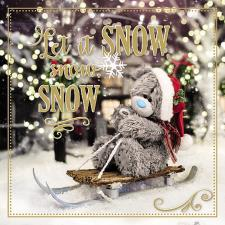 3D Holographic Let It Snow Me to You Bear Christmas Card