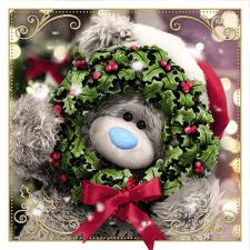 3D Holographic Bear Holding Wreath Me to You Bear Christmas Card