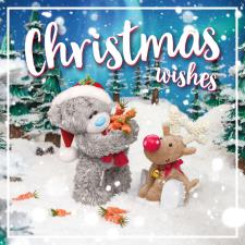 3D Holographic Holding Carrots With Reindeer Me to You Bear Christmas Card