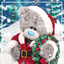 3D Holographic Dressed As Santa With Wreath Me to You Bear Christmas Card