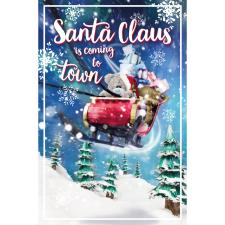 Bear Riding Santa Sleigh Photo Finish Me to You Bear Christmas Card