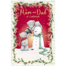 Mum & Dad Building Snowman Me to You Bear Christmas Card