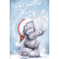 Mum Holding Present Softly Drawn Me to You Bear Christmas Card