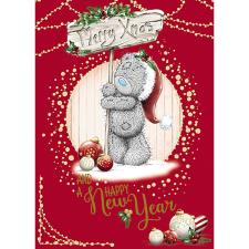 Holding Merry Xmas Sign Me To You Bear Christmas Card